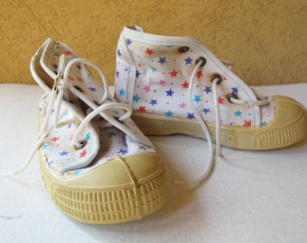 Soviet Vintage Kids Sneakers. Russian canvas shoes with stars. Made in USSR. Collectible