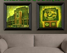 Green Bay Packers art print - 2 set for only 18! Lambeau Field stadium and sign. Great addition to man cave or boys room decor. 11x11 inch