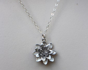Silver Lotus Necklace, Flower Stand Necklace, Dainty Silver Necklace, Bridesmaid, Lucky Jewelry, Nature Flower Necklace, Sterling Silver