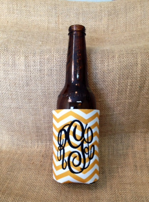 Monogrammed Can Sleeve, Personalized Beer Hugger, Monogrammed Gifts, Beer Gifts, Tailgate Party Favors, Gold and White Chevron