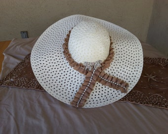 Women's White Summer Hat with Brown Ribbon and Beautiful Brooch.