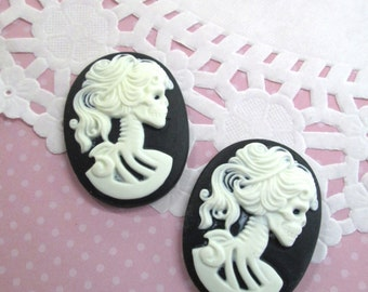 30x40mm Black Skeleton Cameo Cabochons, Day of the Dead, Lady Cameos