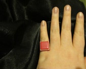 Pink and White Retro Square Plastic Adjustable Ring - Upcycled from Vintage Earring