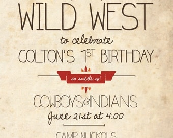 Cowboys and Indians Birthday Invitation: DIGITAL DOWNLOAD for Cowboys and Indians Birthday Party Theme