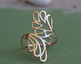 Two Big Leaves Ring, 14K Yellow Gold Plated Ring