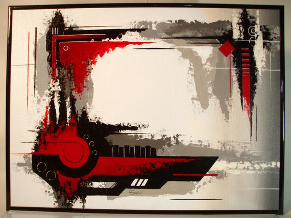 original abstract mechanical style painting 18x24