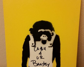 """11x14 Canvas hand cut Stencil """"Cash 4 UR Banksy"""" Banksy Monkey Stencil"""