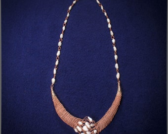 Copper necklace with pearls, handmade