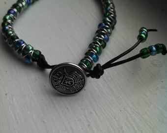 blue and green caterpillar bracelet