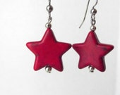 Red Star Earrings, Star Earrings, Howlite Earrings, Rustic Red Stars, Patriotic, Turquoise, Gifts for Her, Gifts Under 5