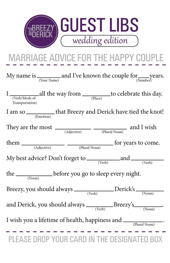 wedding mad libs wedding guest book can also be used for a