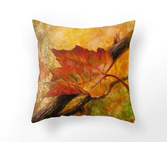 Autumn Throw Pillow Covers : Fall Leaf THROW PILLOW cover Autumn home decor red leaf