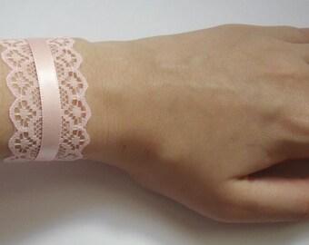 Pink Heart Bracelet Lace Lolita Baby Pink Wedding Bridesmaids