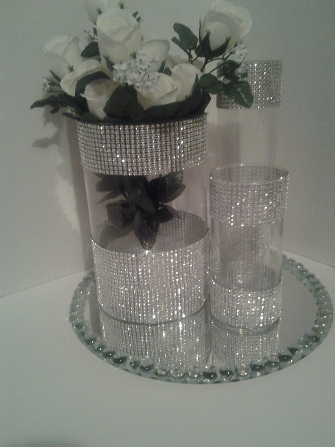 Wedding centerpiece tall glass candle holder rhinestones