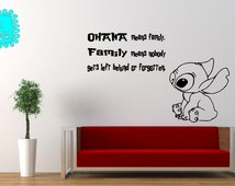 Vinyl Decal - Lilo & Stitch ohana means family quote wall decal