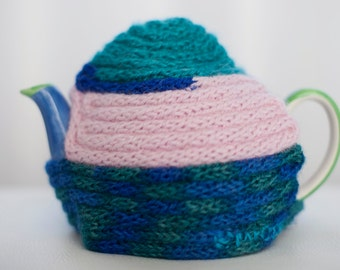 small tea cosy made from french knitted recycled wool scraps