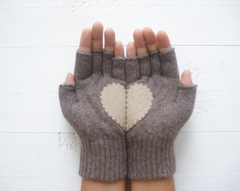 CHRISTMAS GIFT, EXPRESS Shipping, Heart Gloves, Fingerless Gloves, Heather Brown, Special Gift, Xmas Gift, Gift For Her, Holiday Gift Idea
