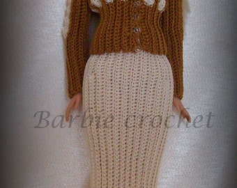 Suit jacket and skirt cream and brown