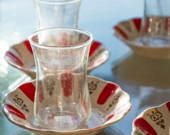 Turkish Tea Set, Vintage Tea Set, Tea Set, Cups & Saucers, PASABAHCE Ince Belli Tea Cups, Porcelain Saucers, Turkish Glasses, Set of 6 Cups