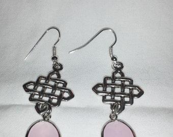 Antique Silver Brass Latice Earrings and Rose Quartz = E 106