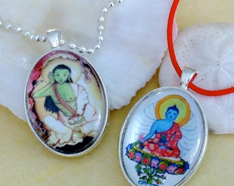 Thangka Pendants of The Yogi Milarepa and The Medicine Buddha