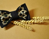 FREE SHIPPING Embroidered men's bow tie Blue navy green pre tied bow tie Groom's bow tie Eco friendly bow tie in cross-stitch Cotton bow tie