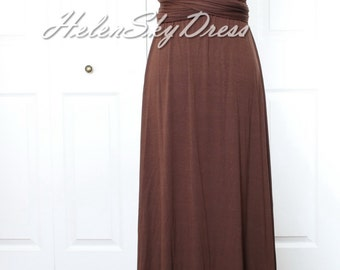 Chocolate Bridesmaid Dress long Infinity Dress Dark Brown Wrap Convertible Dress