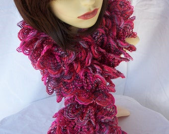 Hand Knitted Pink And Grey Frilly Scarf