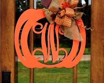 Large 24x24 Single Initial Monogram Pumpkin | Choose your colors | Burlap | Wedding Gift | Shower Gift | Bridal Shower | Fall Wedding