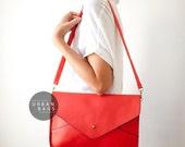 Leather Clutch - Red Vegan Leather Envelope Clutch - Ipad Case - Women Leather Bag - Evening Handbag - Wedding - Different Colors