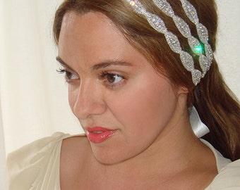 Bridal Headband, Weddings, triple rhinestone headband, rhinestone headband-Athena, triple headband, Bridal Headband, Bridal Headpiece