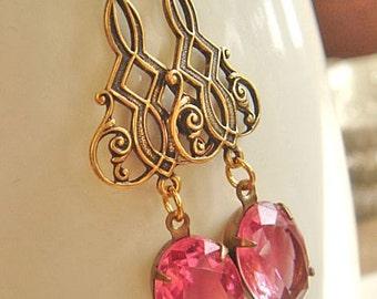 Vintage Earrings, Pink Earrings, Crystal Rhinestone Earrings, Dangle Earrings