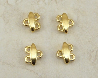 4 TierraCast Almond 2-1 Link Connector Findings > Chandelier Multistrand - 22kt Gold Plated Lead FreePewter - I ship Internationally 3068