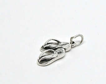 Pair of Flip Flops Beach Sandals Sterling Silver 3D Pendant Charm Customize no. 1843