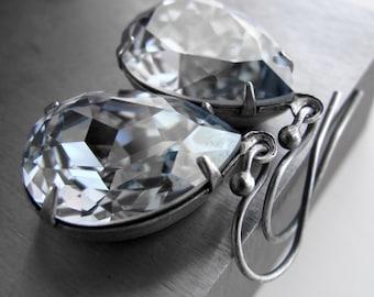 Ice Blue Crystal Earrings - Cold Icy Blue Swarovski Crystal Teardrops, Bridesmaid Earrings, Wedding Jewelry, Hollywood Luxury