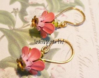 enamel flower earrings HIBISCUS
