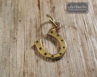 Gold Horseshoe Charm, Tiny Horse Shoe Charm, Natural Bronze Pendant, Charm for Bracelet or Necklace (CH 582 b)