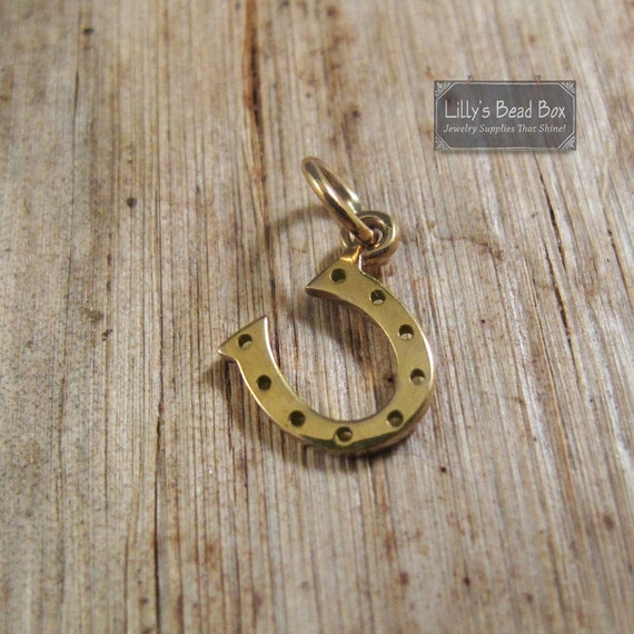 Gold Horseshoe Charm, Tiny Horse Shoe Charm, Natural Bronze Pendant, Charm for Bracelet or Necklace, 13mm x 10mm (CH 582 b)