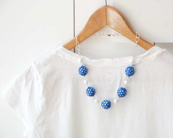 Blue and White Necklace, Polka Dot Jewelry, Statement necklace, Chunky Vintage Lucite, Glass and Sterling Silver - Summer Fling