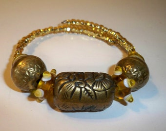 Gold & Brass Bracelet, Gold Cuff Bracelet, Etched Brass Bead Bracelet, Gold Glass Bead Bracelet, Memory Wire Wrap Bracelet, Ethnic Beads