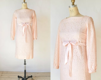 1960s Lace Dress --- Vintage Pink Bridesmaid Dress