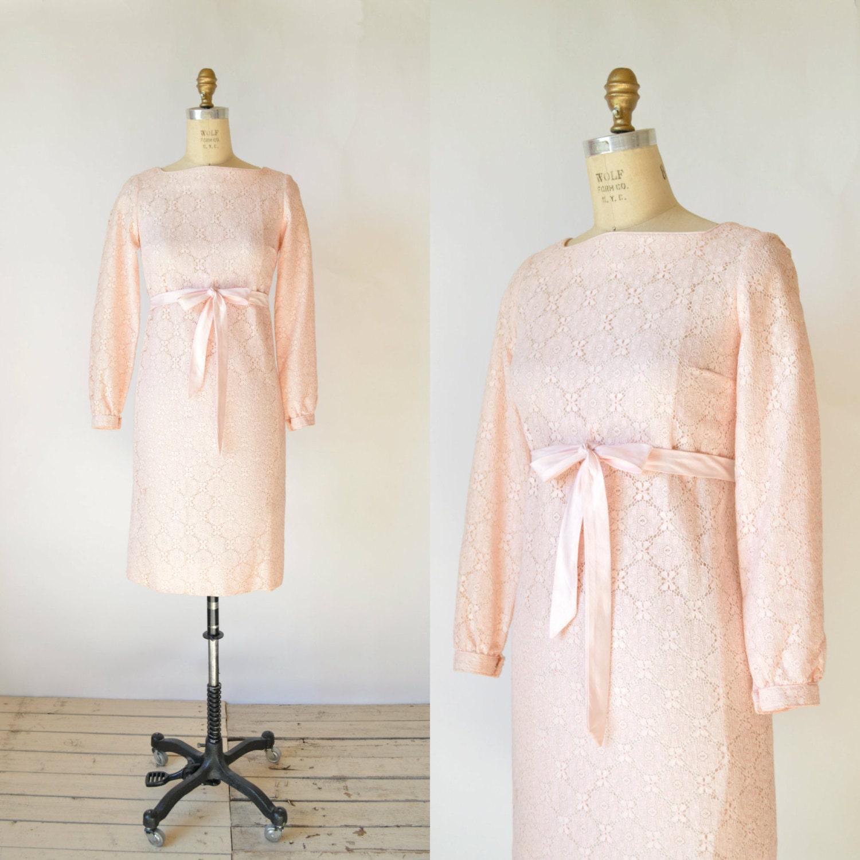 1960s Lace Dress Vintage Pink Bridesmaid Dress