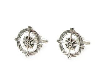 Compass Cufflinks, soldered cufflinks, gift for men father, gift for Birthday, Nautical Cufflinks