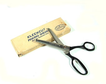 Vintage Kleencut Pinking Shears / Scissors with Automatic Stop 7-1/2 inch - Original Box