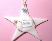 LOVE Fused Glass Star Ornament/ OOAK Valentine or Wedding Gift by Susan Faye