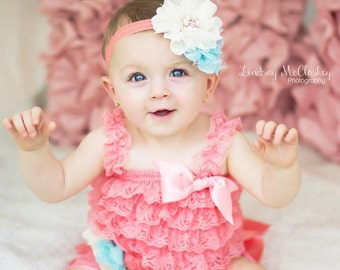 Coral headband For Baby- Baby Girl Headband -Coral and Aqua Flower Headband -Baby Headband - Photo Prop