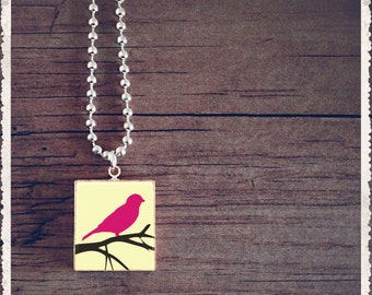 Scrabble Tile Necklace - Pink Bird On a Branch - Scrabble Jewelry Pendant Charm - Customize
