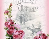 Pink Shabby Christmas Vintage Merry pink roses Large digital download ECS buy 3 get one free
