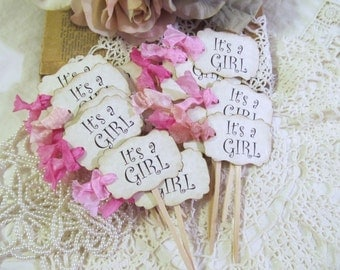 It's a Girl Cupcake Toppers w/ribbons - Parchment Baby Shower Party Picks - Set of 12 or 18 - girl baby shower - its a girl