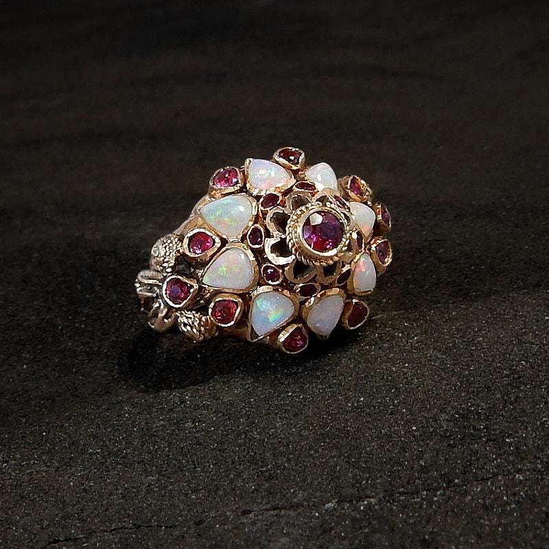 K Opal And Garnet Ring